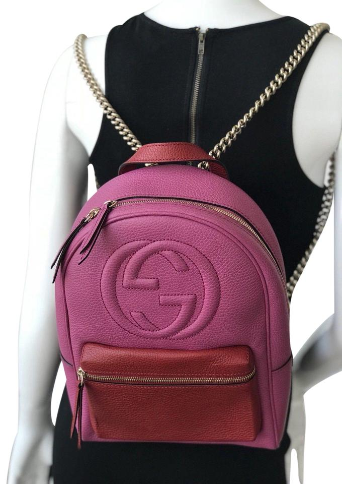 Gucci Soho Chain Pink Rosette Hibiscus Leather Backpack - Tradesy 504f0e17ccddc