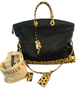 Louis Vuitton Leather Satchel in black with yellow