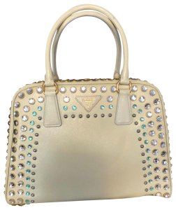 Prada Leather Studded A-frame Structured Textured Tote in White/ivory
