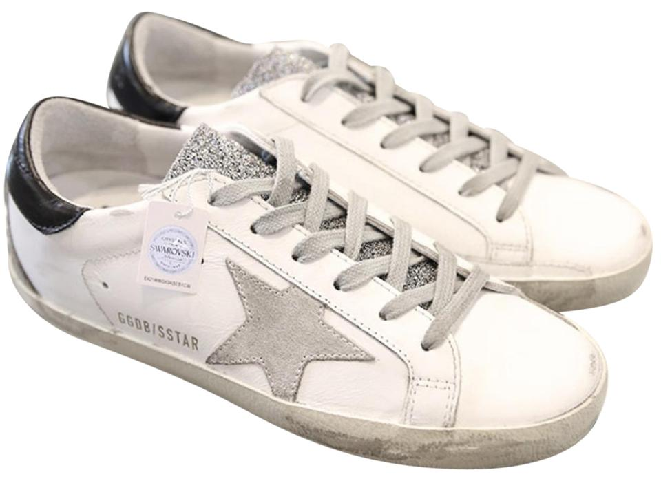 94cb9da1b83c Golden Goose Deluxe Brand White Super Star Leather Sneakers with Swarovski  Crystals Sneakers