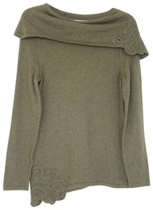 Soft Surroundings Cotton/Cashmere Cowlneck Crochet Ling Sleeves Sweater