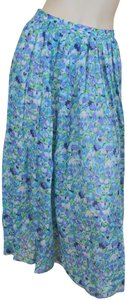 Cacharel Cotton Full Floral Pleated Skirt Blues & purples