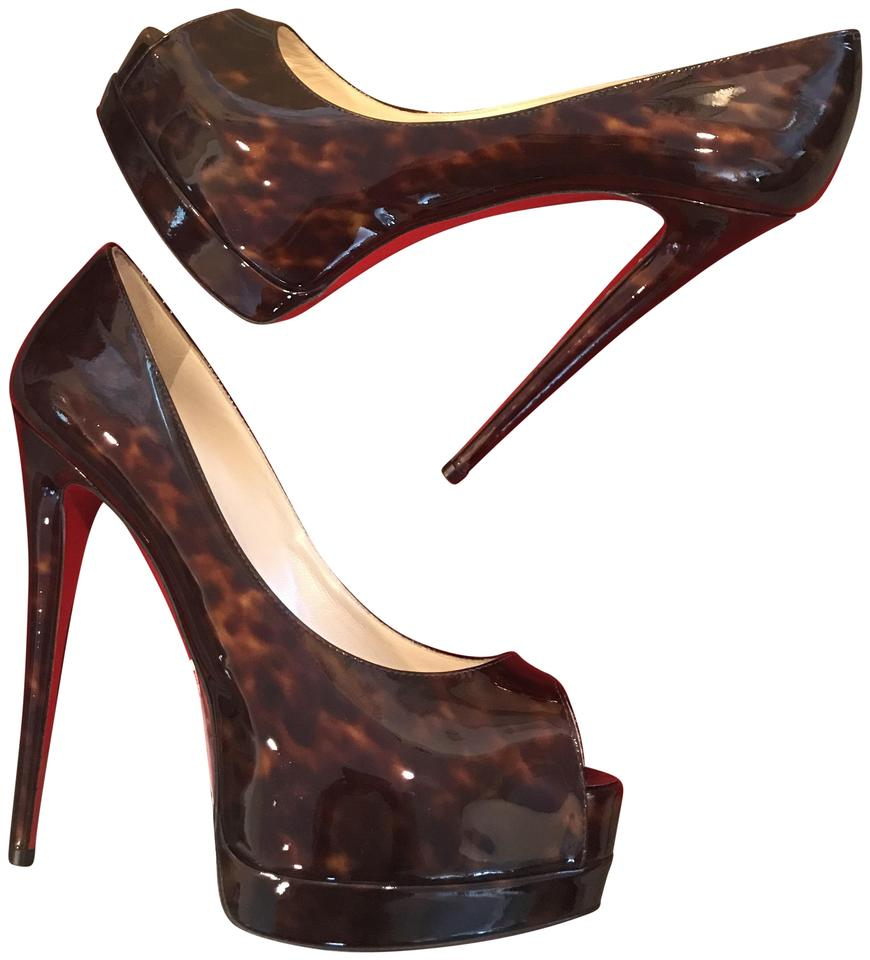 Christian Louboutin Tortoise Brown Palais Royal 120 Patent Pumps Leather Open Toe Heels Pumps Patent Platforms a0a72d