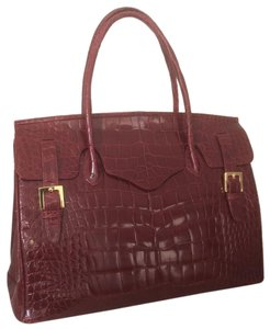 Alexandra Knight Alligator Tote in Cherry red