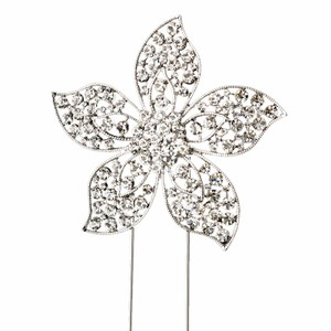 Elegance by Carbonneau Silver-plated Floral Rhinestone Cake Topper