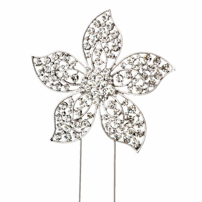 Item - Silver-plated Floral Rhinestone Cake Topper