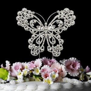 Elegance by Carbonneau Silver-plated Crystal Butterfly Cake Topper