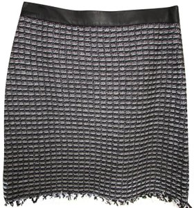 Tory Burch Suiting Workwear Leather Trim Fringe Hem Skirt Black and White