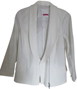 Tracy Reese Linen Zip 3/4 Sleeve Summer Casual White Jacket
