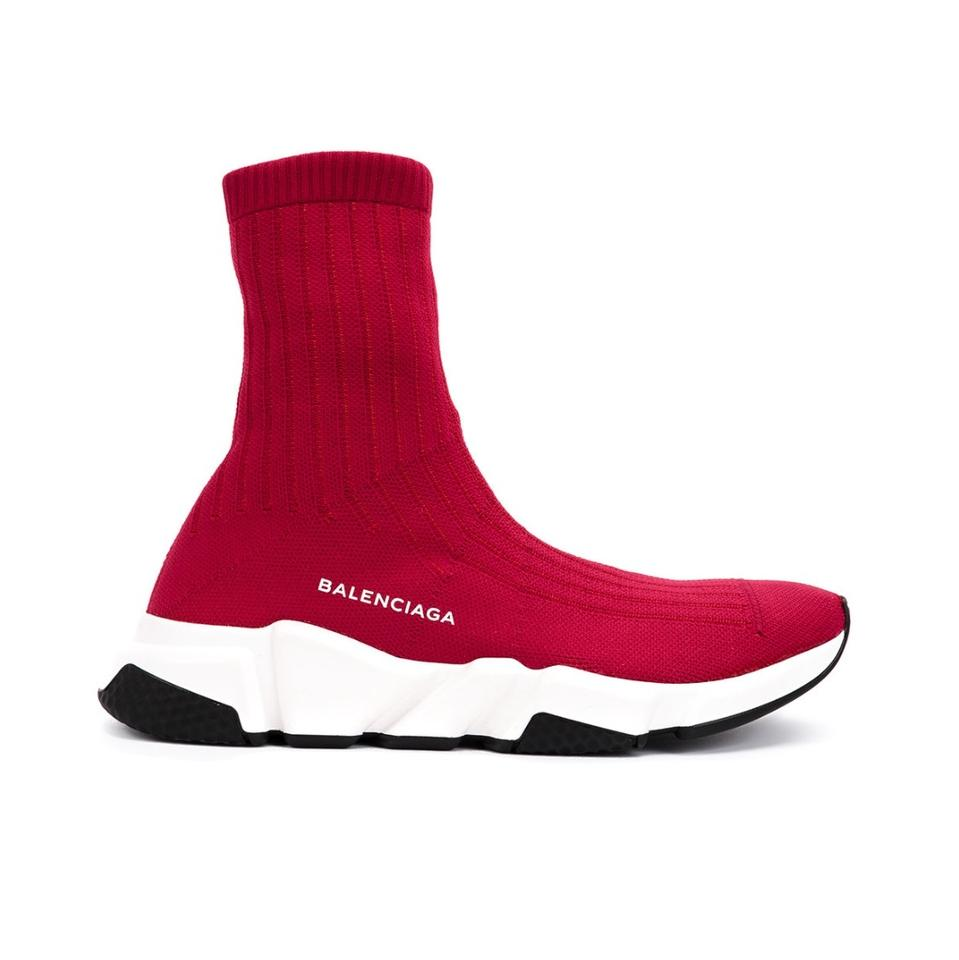 c2d80620abb2 Balenciaga Red Ribbed Mid Speed Sneakers Size EU 40 (Approx. US 10 ...