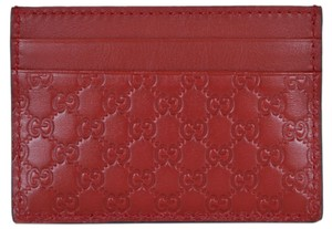 Gucci New Gucci 476010 Red Leather Micro GG Guccissima Small Card Case