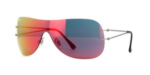 Ray-Ban Ray Ban Unisex Sheild Sunglasses RB8057 159/6Q Silver Frame Red Lens
