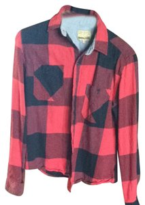 Free Nature Button Down Shirt Red Plaid