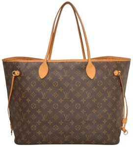 Louis Vuitton Monogram Shopper Shoulder Neverfull Tote in Brown