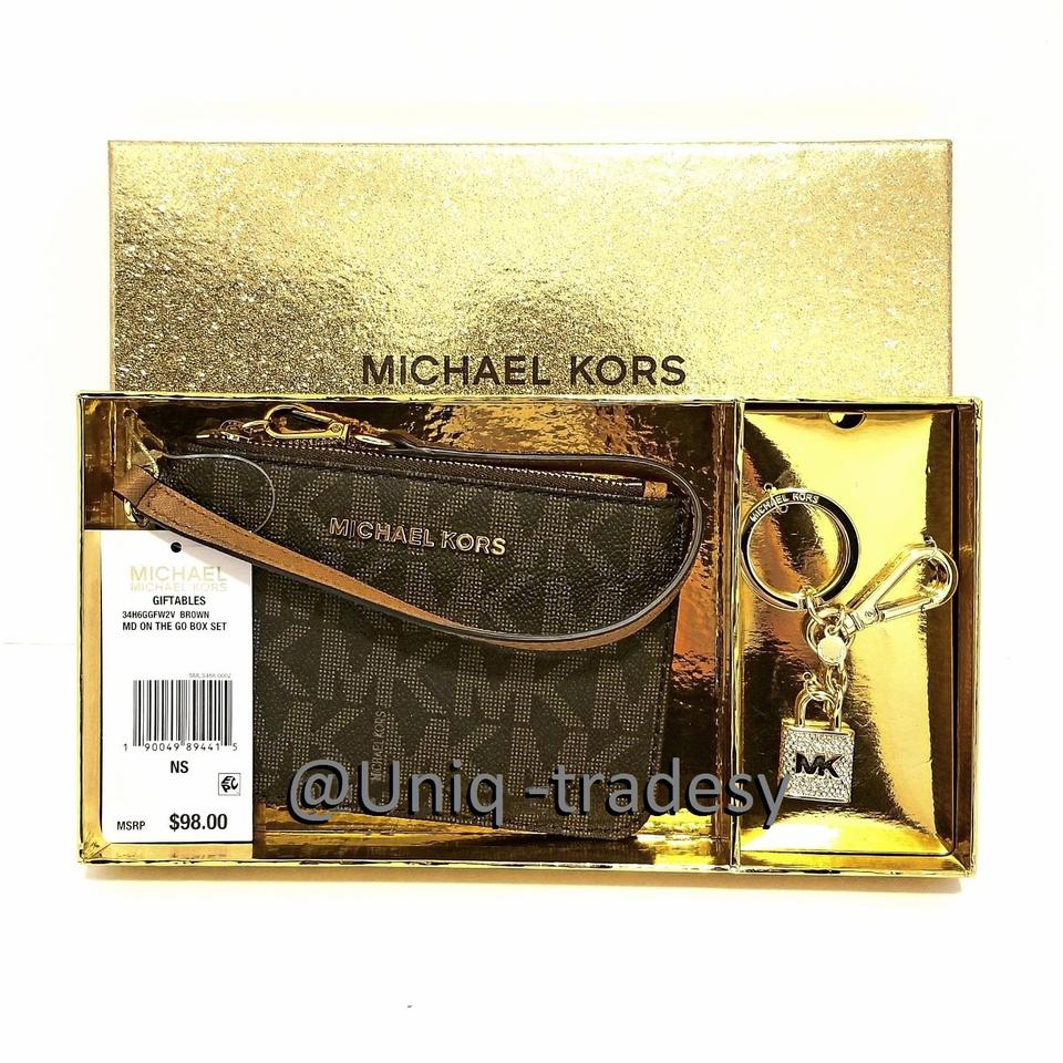 38fac5d5e579 Michael Kors Wristlet in __ L A S T 1 __ S A L E __ Brown MK Boxed Gift Set  Bundle ...