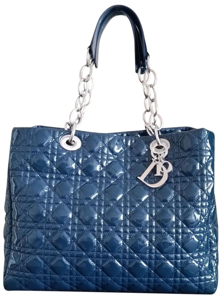8cda826905cb Dior Lady Dior Cannage Quilted Chain Tote Blue Teal Soft Patent ...