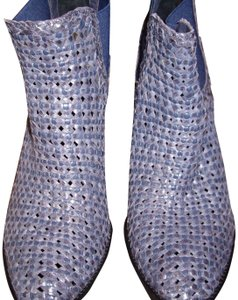 Vero Cuoio Leather Woven Chunky Heel Blue Boots