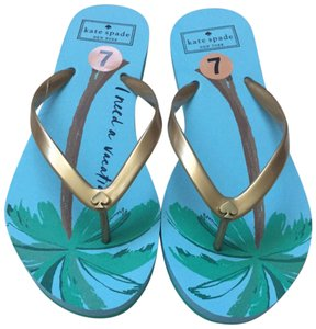 Kate Spade Vacation Palm Tree Flip Flop Size 7 Blue Green Sandals