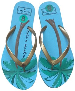 Kate Spade Vacation Palm Tree Flip Flops Size 8 Blue Green Sandals