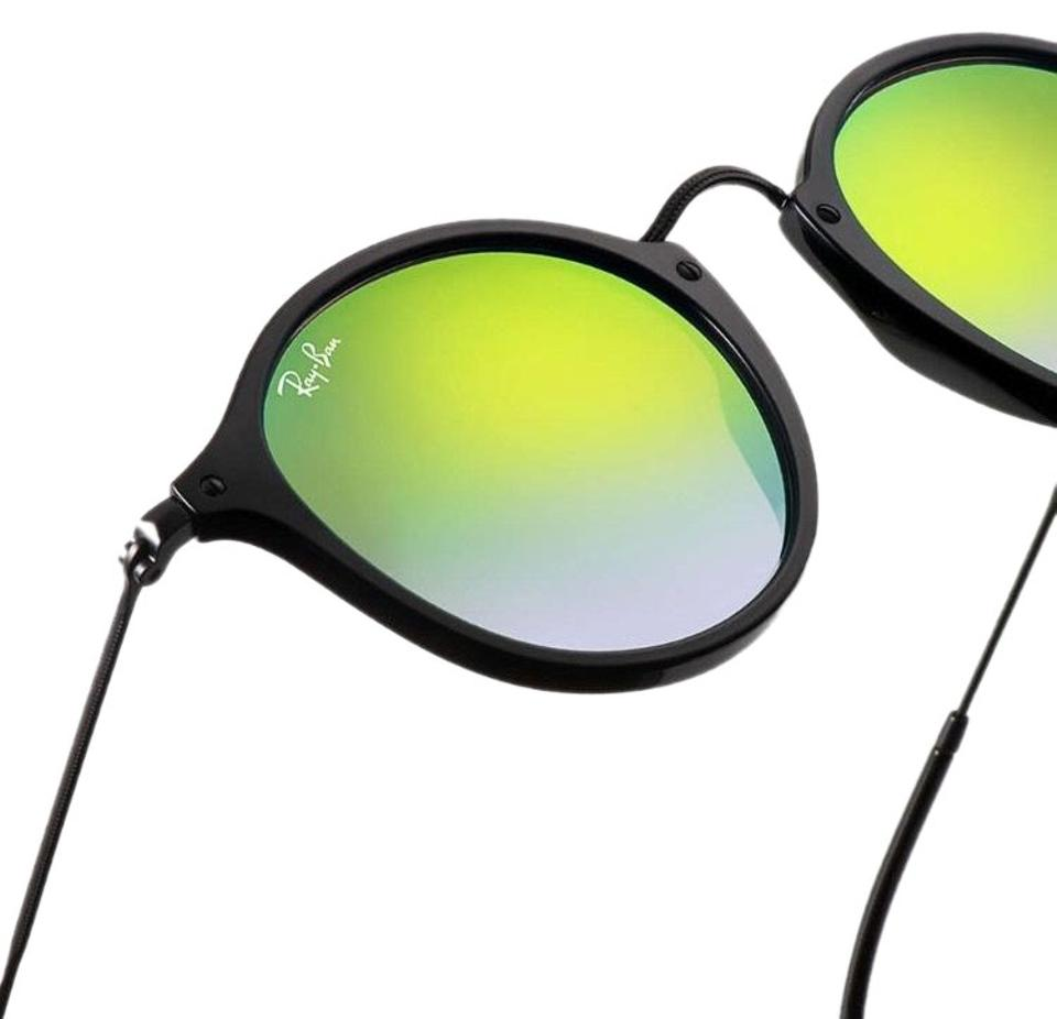 72d4e1203a Ray-Ban New Black   Blue   Green Mirror Round Fleck Flash Lenses Gradient  Rb2447 Sunglasses - Tradesy