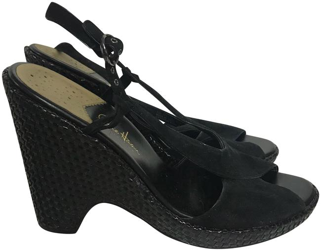 Item - Black Suede Woven B Wedges Size US 9.5 Regular (M, B)