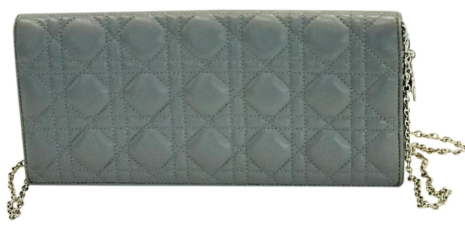 37f343f948 Dior Lady Dior Cannage Convertible Grey Leather Clutch - Tradesy