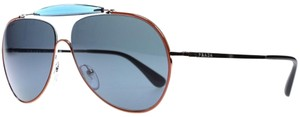 Prada New Prada Men Aviator Sunglasses PR56SS UFS2K1 Orange Frame Blue Lens
