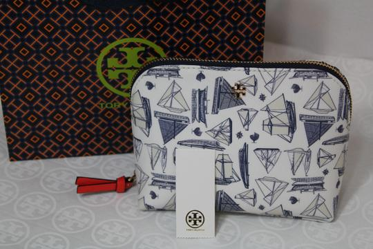 Tory Burch NEW TORY BURCH NAUTICAL SAILBOAT PRINT SUMMER BOAT COSMETIC MAKEUP BAG Image 1