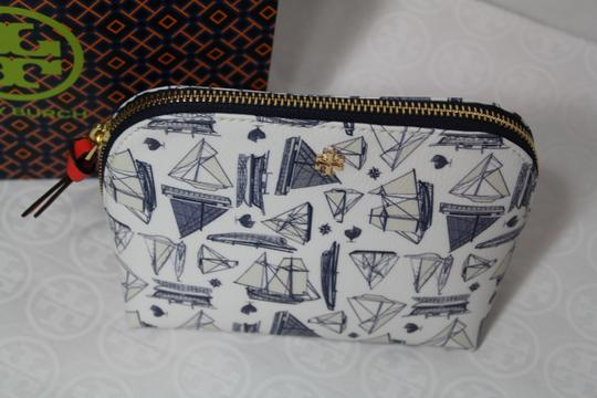 Tory Burch NEW TORY BURCH NAUTICAL SAILBOAT PRINT SUMMER BOAT COSMETIC MAKEUP BAG Image 2