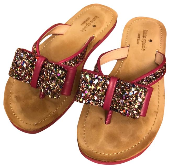 Item - Deep Pink Icarda Multi Glitter Slide Sandals Size US 5 Regular (M, B)