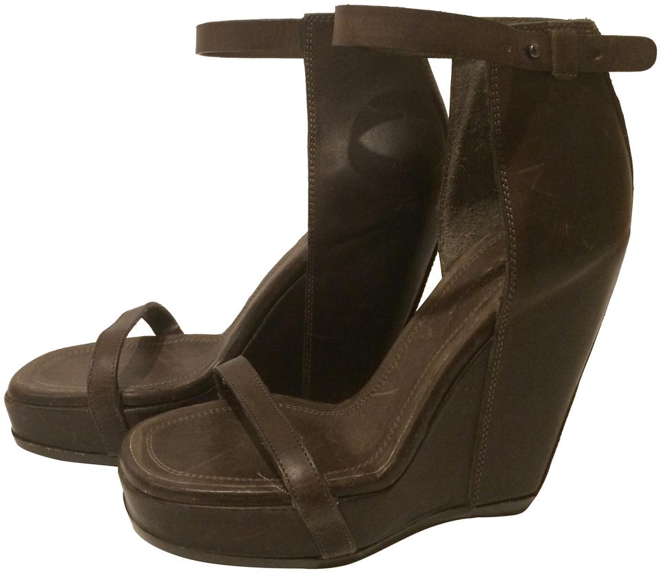 57c1dc974f34e Rick Owens Brown New Wedge Ankle Strap Leather Sandals Size EU 36 ...