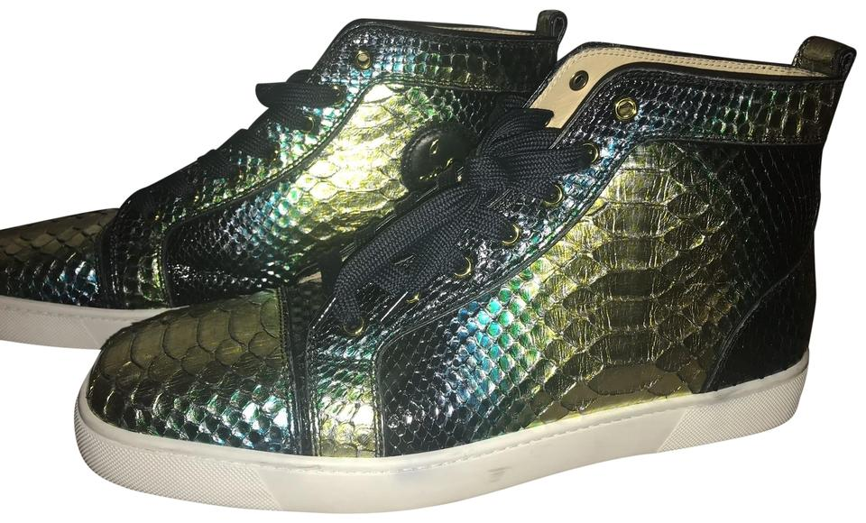 uk availability 44a45 d7748 Christian Louboutin Gold/Black/Green Men's Louis Flat Mimosa Sneakers Size  US 13 Regular (M, B) 66% off retail