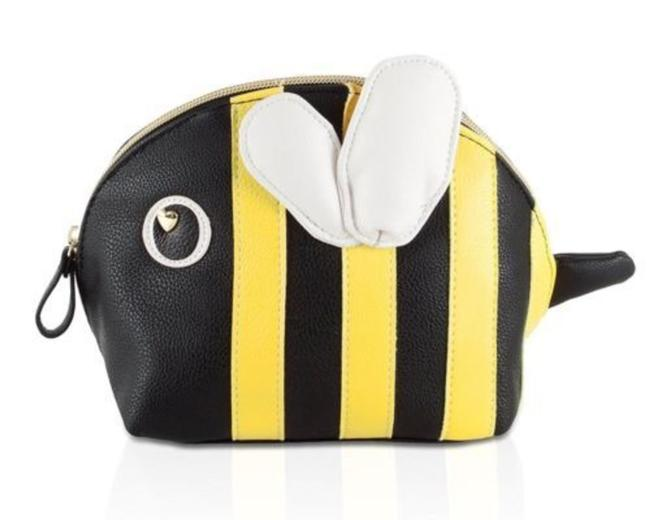 Item - Cosmetic Case Bumble Bee Kitch Nylon Travel Pouch - Black/Multi Black/Yellow/White Faux Leather Baguette