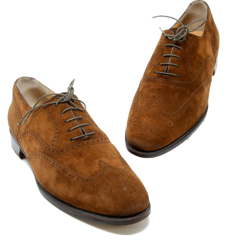 a519512ecc5edf Salvatore Ferragamo Brown Dark Suede Leather Oxford Lace Up Derby Shoes