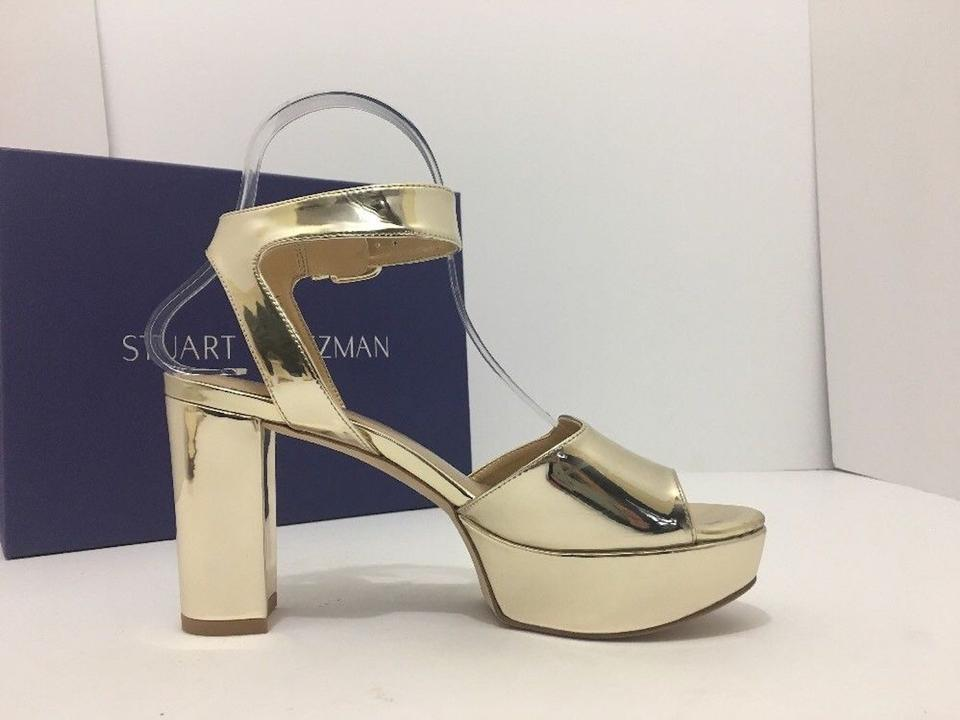 46a7a7188227 Stuart Weitzman Pale Gold Realdeal Glass Leather Women s Platform High Heels  Sandals Pumps Size US 6.5 Regular (M