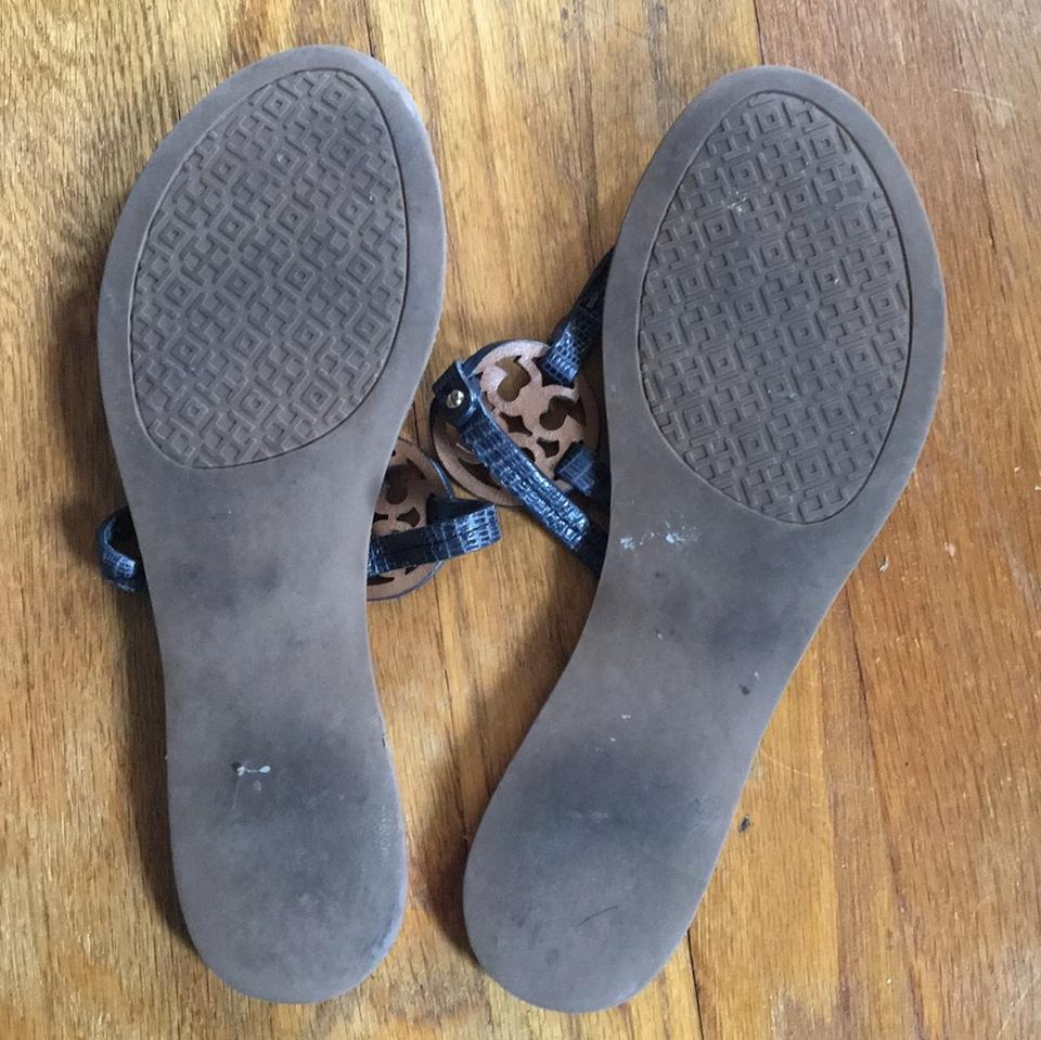f7795cc68e3c Tory Burch Navy Mini Miller Leather Snake Print Thong Sandals Size ...