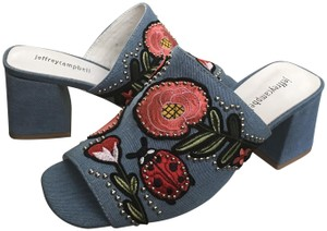 Jeffrey Campbell Stud Embroidered Blue Denim Mules