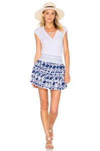 LoveShackFancy Beach Embroidered Cotton Casual Chic Mini Skirt Blue