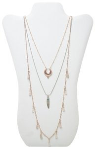 Topshop TopShop Crescent Feather & Briolette Layered Necklace Nordstrom Jewel