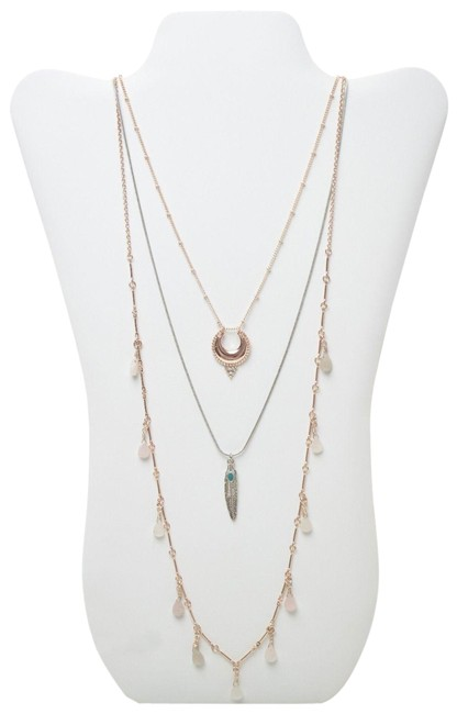 Item - Gold Multi Crescent Feather & Briolette Layered Nordstrom Jewel Necklace