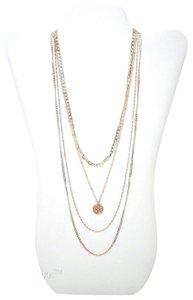 Full Tilt Full Tilt Layered Chain w/ Crystal Studded Charm Gold Necklace Jewelry