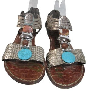 Sam Edelman Bling Rhinestones Sterling Jeweled Metallic Silver with Turquoise Stones Sandals