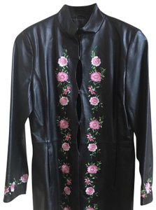 Clifford & Wills black with floral details Leather Jacket