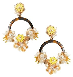 Kate Spade NEW KATE SPADE FLORAL SUMMER STATEMENT HOOPS HOOP EARRINGS NWT