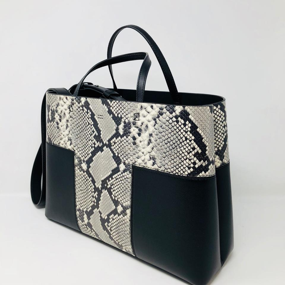 44449b5871a Tory Burch Block-T T Embossed Triple Compartment Tote Black ...
