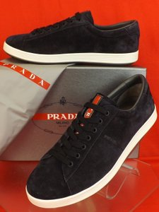 Prada Dark Navy Blue Mens Suede Lace Up Lettering Logo Sneakers 11 Us 12 Shoes