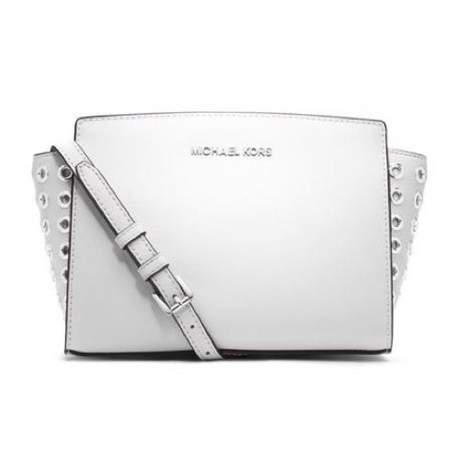 Item - Selma with Grommet Sides White Leather Cross Body Bag