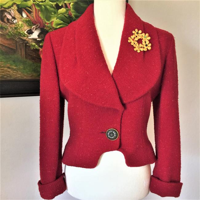 Karl Lagerfeld Couture Nubbywool Cranberry Jacket Image 11
