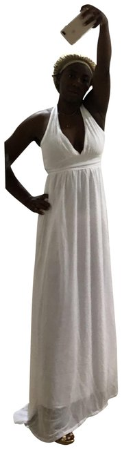 Item - White Halter Maxi Long Night Out Dress Size 4 (S)