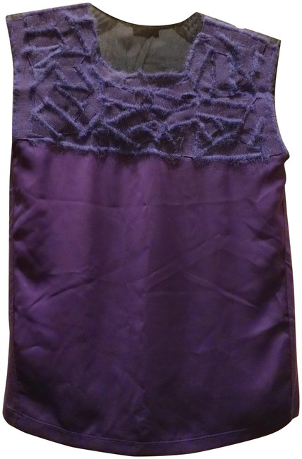 Item - Purple Eggplant Black 38 Made In Italy Blend Embroidered Sleeveless Blouse Size 6 (S)